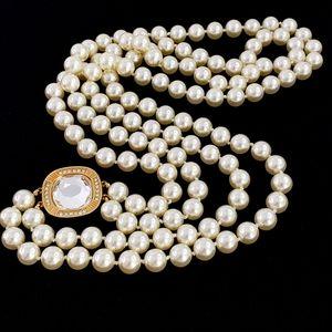 Swarovski pearl necklace double strand + clasp